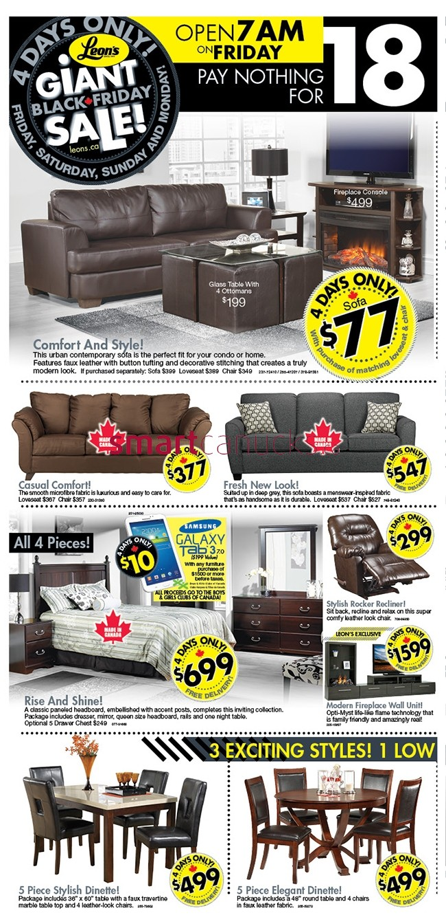 Leon s canada black friday 2013 sales and deals flyer for Boxing day meuble leon