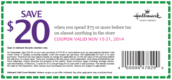 image relating to Hallmark Coupon Printable called Hallmark Canada Pre Black Friday 2014 Printable Coupon